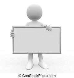 humain, blanc, 3d, affiche