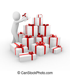 humain, boîte-cadeau, rouges, 3d, blanc