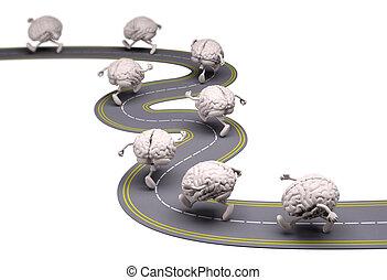 humain, cerveaux, cela, courses, dans, les, rue