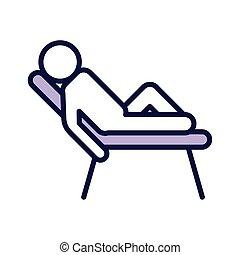 humain, chaise, ligne, icône, figure, avatar, plage, style