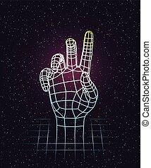 humain, grille, design., laser, haut, main, 80s, retro, profond, espace, dehors, étirage, futuriste
