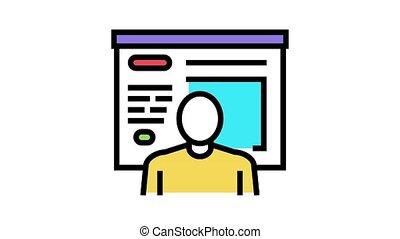 humain, icône, animation, couleur, présentation