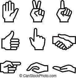 humain, icône, main