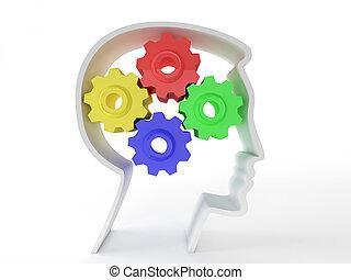 humain, intelligence, et, cerveau, fonction, représenté, par, engrenages, dans, les, forme, de, a, tête, représenter, les, symbole, de, santé mentale, et, neurologique, fonctionnement, dans, malades, à, depression.