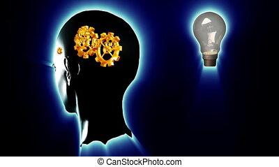 humain, lightbulb, tête, engrenages, dents