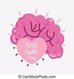 humain, mental, mondiale, texte, santé, intérieur, jour, coeur, cerveau