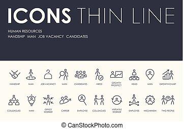 humain, mince, ressources, ligne, icônes