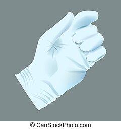 humain, monde médical, gant, main, réaliste, vecteur, position., tenue
