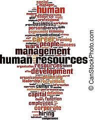 humain, mot, ressources, nuage