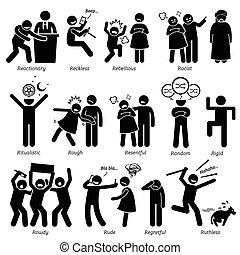 humain, négatif, actions