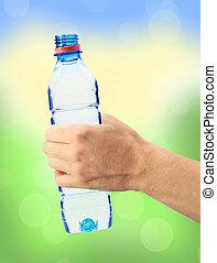humain,  nature, bouteille, sur, main, eau, clair, fond, tenue