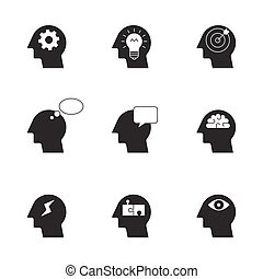 humain, pensée, processus, icônes