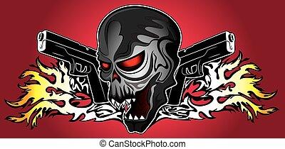 humain, pistolets, punk, cyber, crâne