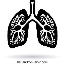 humain, poumons, icône