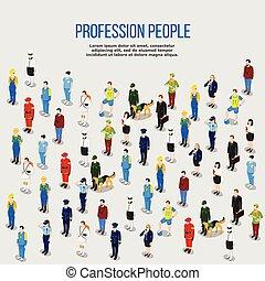 humain, professions, isométrique, fond