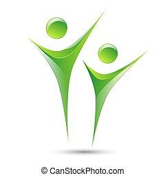 humain, résumé, vecteur, figures, gabarit, logo