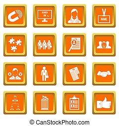 humain, ressource, gestion, icônes, ensemble, orange