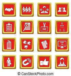 humain, ressource, gestion, icônes, ensemble, rouges