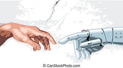humain, robot, main