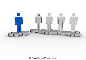 humain, suivant, autre, sur, formulaire, bleu, morceau, formes, puzzle