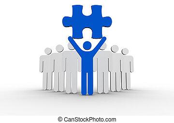 humain, suivant, ligne, éditorial, tenue, bleu, morceau, formes, puzzle
