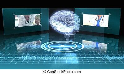 humain, tournant, cerveau, transparent