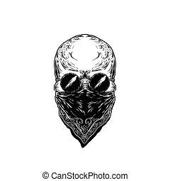 humain, vecteur, illustration, crâne, lunettes