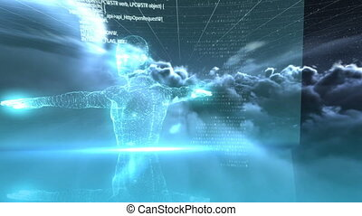 humain, vidéo, généré digitalement, corps