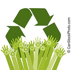 Human abstract hands with recycling sign. Conceptual ecology vector illustration