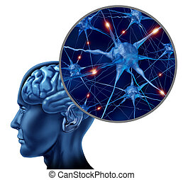 Human Active Neurons - Human brain medical symbol...