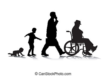 Human Aging 2 - An abstract vector illustration of human...