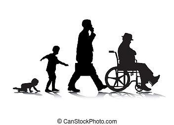 Human Aging 2 - An abstract vector illustration of human...
