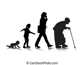 Human Aging 3 - An abstract vector illustration of human...