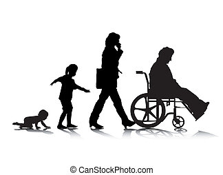 Human Aging 4 - An abstract vector illustration of human...