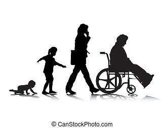 Human Aging 4 - An abstract vector illustration of human...