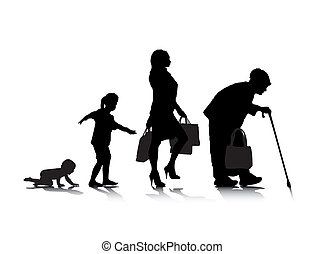 Human Aging 5 - An abstract vector illustration of human...