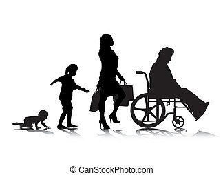 Human Aging 6 - An abstract vector illustration of human...