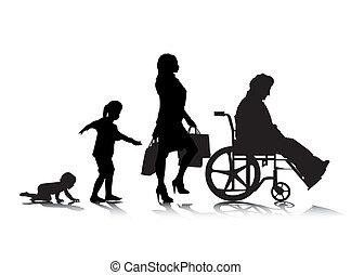 Human Aging 6 - An abstract vector illustration of human...