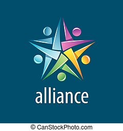 Human Alliance logo - Abstract vector logo union of people...