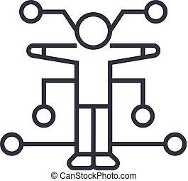 human analysis vector line icon, sign, illustration on background, editable strokes