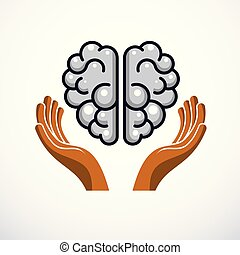 Human anatomical brain with tender defending hands of care. Vector illustration, logo or icon. Care for mental health, careful and correct education concept.