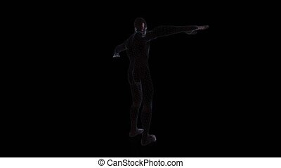 Human Anatomy Body 3D rendering on dark background.- rotating seamless loop