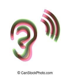 Human anatomy. Ear sign with soundwave. Vector. Colorful icon shaked with vertical axis at white background. Isolated.