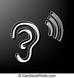 Human anatomy. Ear sign with soundwave. Vector. Gray 3d printed icon on black background.