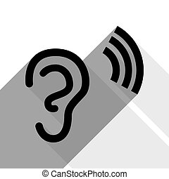Human anatomy. Ear sign with soundwave. Vector. Black icon with two flat gray shadows on white background.