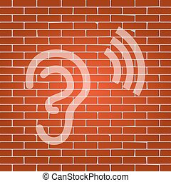 Human anatomy. Ear sign with soundwave. Vector. Whitish icon on brick wall as background.