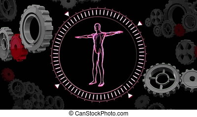 Human anatomy in a circle with gears