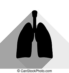 Human anatomy. Lungs sign. Vector. Black icon with two flat gray shadows on white background.