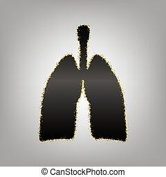 Human anatomy. Lungs sign. Vector. Blackish icon with golden...