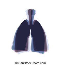 Human anatomy. Lungs sign. Vector. Colorful icon shaked with vertical axis at white background. Isolated.